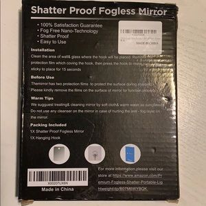 Shatterproof fog less mirror with hanging hook